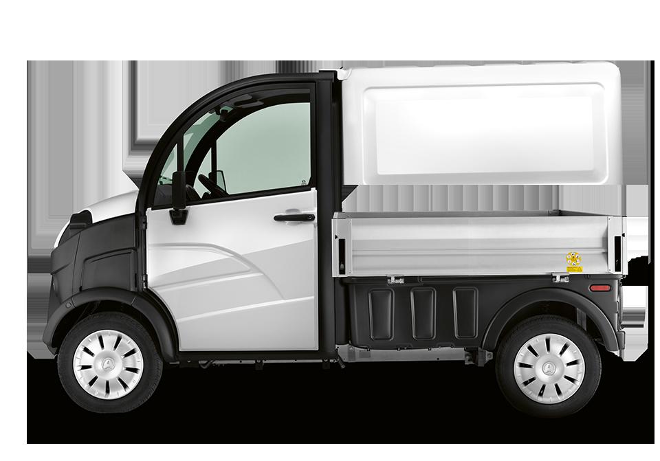 Aixam D Truck mit Pritsche von der Seite
