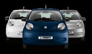 3 Minauto modelle in weiss, blau und silber